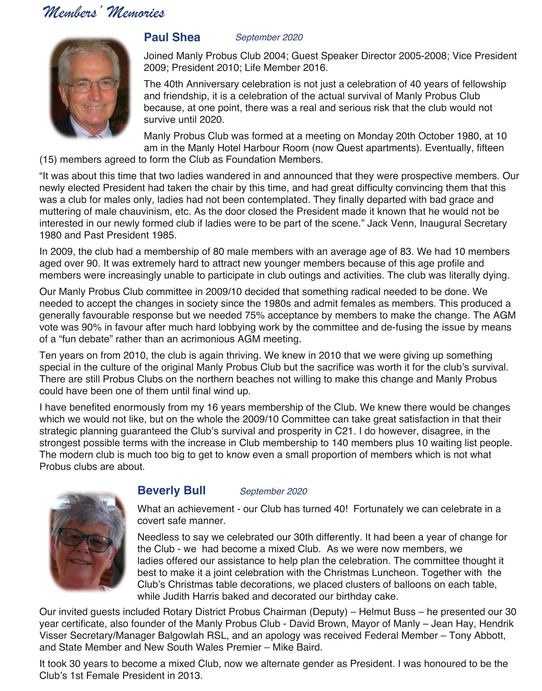 Page 1 Members Memories